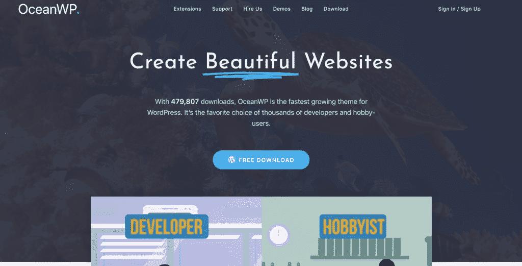 ocean wp homepage